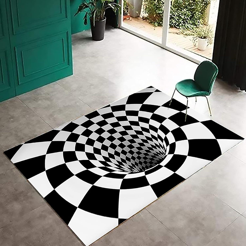 3D Area Rug Special sale item Non Slip Soft Rectangle Nashville-Davidson Mall Illusion Optical F Carpet