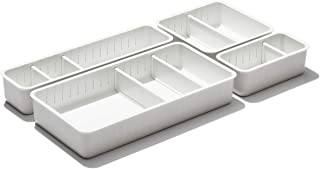 OXO Good Grips Adjustable Bathroom Drawer Bin with Removable Dividers – 4 Piece Complete Set