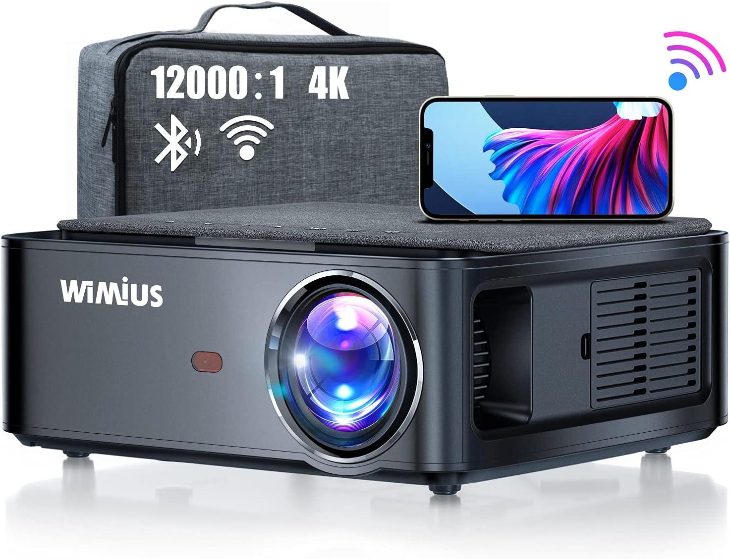 Projector, WiMiUS Newest 5G WiFi Bluetooth Projector Native 1920x1080 LED Projector 4K Support 5.1 Bluetooth 4P/4D Keystone, Zoom 500