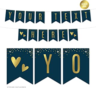 Andaz Press Navy Blue with Gold Metallic Ink Wedding Party Collection, Personalized Hanging Pennant Party Banner with String, Your Text Here, 8-Feet, 1 Set, Custom Made