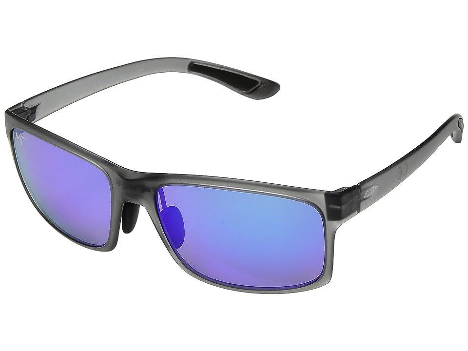 Maui Jim Pokowai Arch (Translucent Matte Grey/Blue Hawaii) Athletic Performance Sport Sunglasses