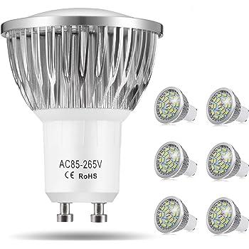 Bombillas LED GU10, 7W 18 x 5730 SMD Lámpara LED, Equivalente a 60Watt Lámpara Incandescente, Blanco Frío 6000K, 550lm, AC85-265V, 140 ° ángulo de haz, Pack de 6 by Jpodream: Amazon.es: Iluminación