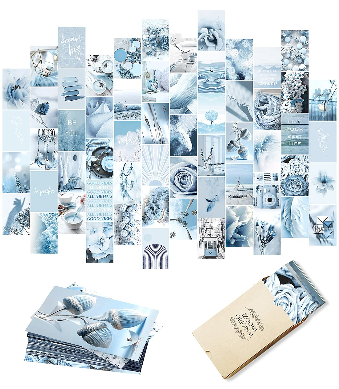 Blue Wall Collage Kit Aesthetic Pictures, Aesthetic Room Decor, Bedroom Decor for Teen Girls, Wall Collage Kit, Photo Wall, Aesthetic Posters, Collage Kit, Blue Wall Decor (60 PCS, 4x6 inch)