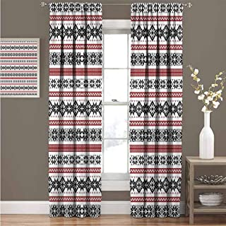 GUUVOR Nordic Blackout Curtain Scandinavian Style Norwegian Ornamental Winter Motif Silhouettes Traditional 2 Panel Sets Curtain 52