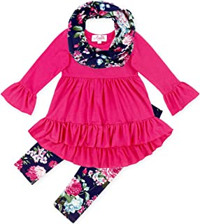 Boutique Toddler Little Girls Spring Colors Easter Vintage Floral Top Leggings Scarf Set - 2019 Styles