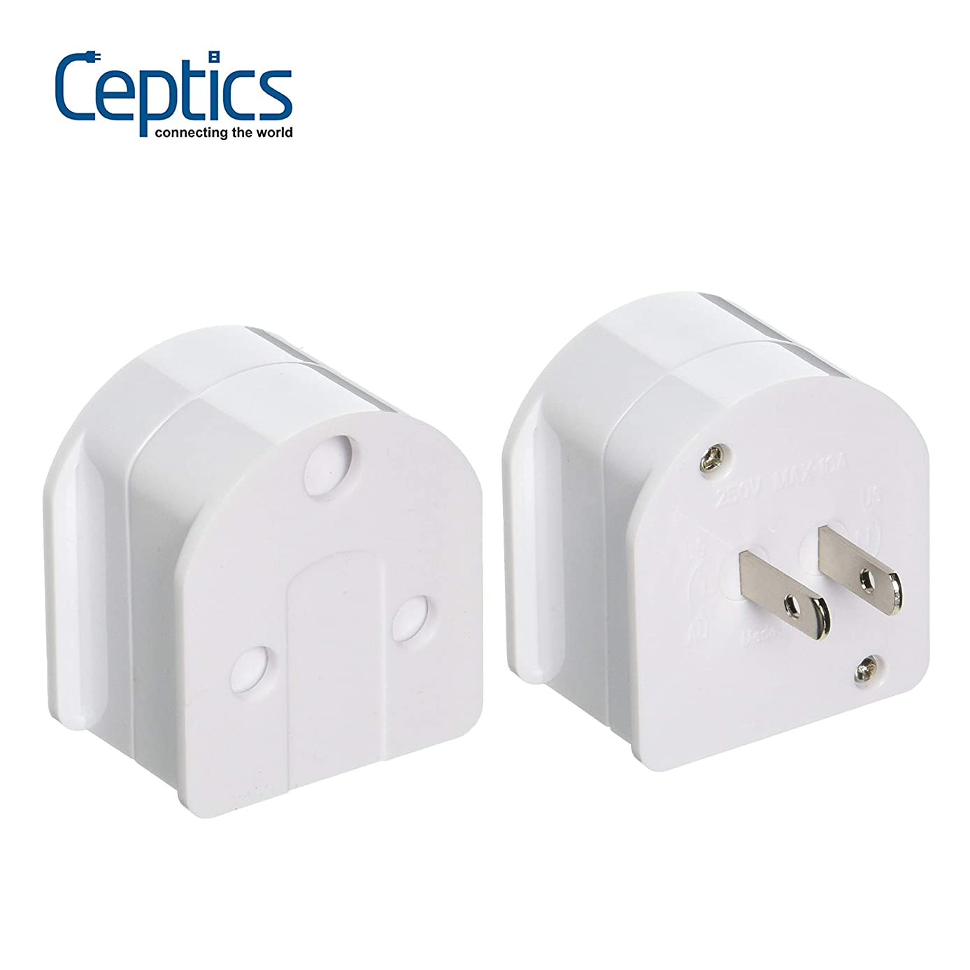 Ceptics SA-US-AU South Africa to USA/Australia Plug Adapter (250V - Max 10A)