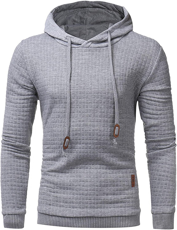 Hoodies for Men Men's Autumn Slim Casual Plaid Hooded Long Sleeve Sweatershirts Top Fashion Hoodies & Sweatshirts Blouse