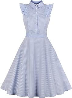 Women's Vertical Stripes Ruffle Sleeve Vintage Swing Shirt Dress