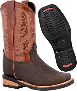 Kids Cognac Western Cowboy Boots Real Leather Classic Square Toe