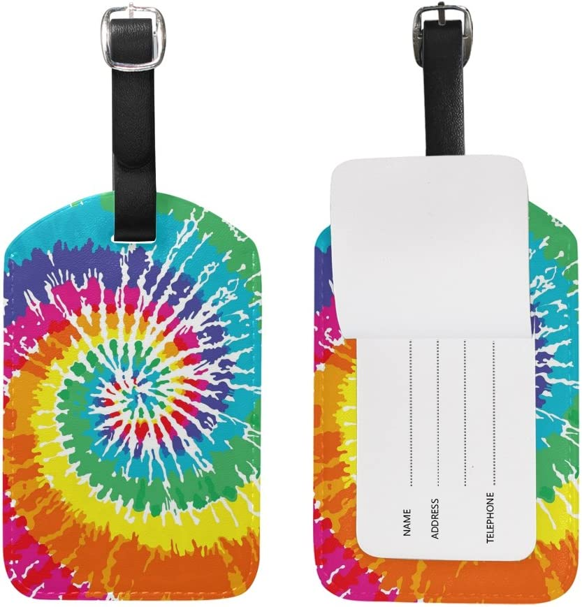 Use4 Tie Dye Rainbow Tucson Mall Luggage Tags Travel Max 47% OFF Bag Tag ID Suitcase for