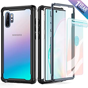 FITFORT Samsung Galaxy Note 10 Plus Case Full Body Rugged Heavy Duty Clear Bumper Case with Screen Protector, Shock Drop Proof Protective Case Compatible with Galaxy Note 10+ Plus (2019)