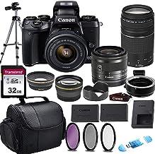 Canon EOS M5 Mirrorless Digital Camera & 15-45mm STM + 75-300mm III Lens w/EOS M Mount Adapter + 32GB Transcend Memory Car...