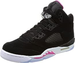 Jordan Kids AJ 5 Retro GG Sneaker (Black/Black-Deadly Pink-White)