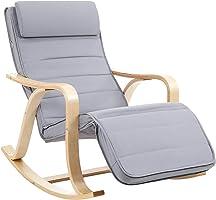 كرسي هزاز من الخشب الصلب مع 5 ارتفاعات قابلة للتعديل يتحمل حتى 150 كجم رمادي فاتح LYY41G من شركة سونجميكس