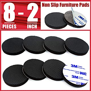 """Non Slip Furniture Pads 8 pcs 2"""" Furniture Grippers for Hardwood Floors Round Self Adhesive Anti Skid Heavy Duty Felt Rubber Furniture Pads Stopper Floor Protectors for Furniture Legs Prevent Sliding"""