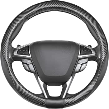 Black Color ZHOL Universal 15 inch Microfiber Leather Auto Car Steering Wheel Cover with Plaid Pattern