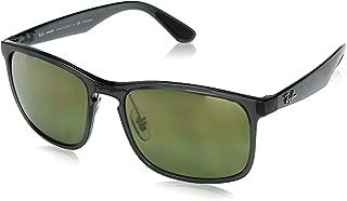 Ray-Ban RB4264 Chromance Mirrored Square Sunglasses, Shiny Grey/Polarized Green Mirror, 58 mm