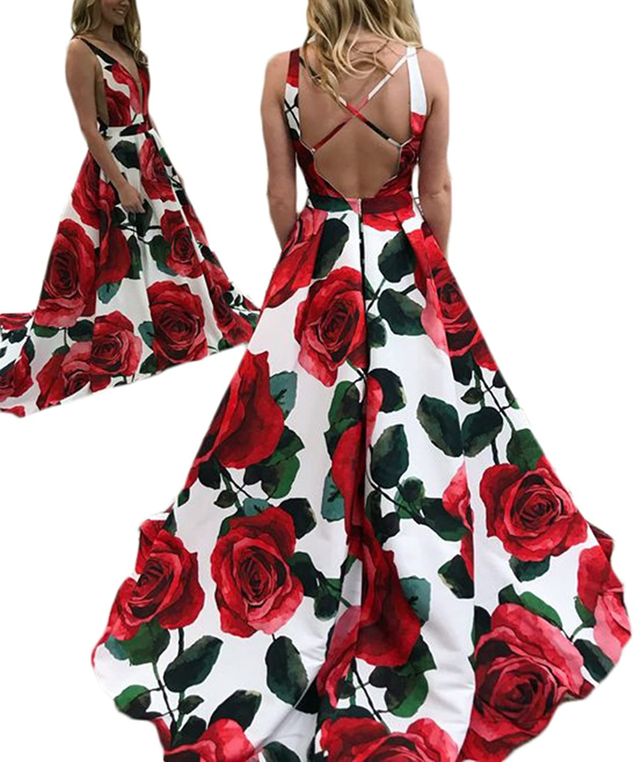 Alilith.Z Sexy V Neck Floral Princess Prom Dresses Open Back Long Formal Evening Party Gowns Women