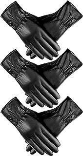 3 Pairs Women Leather Glove Winter Warm Lining Glove Full-hand Touchscreen Glove