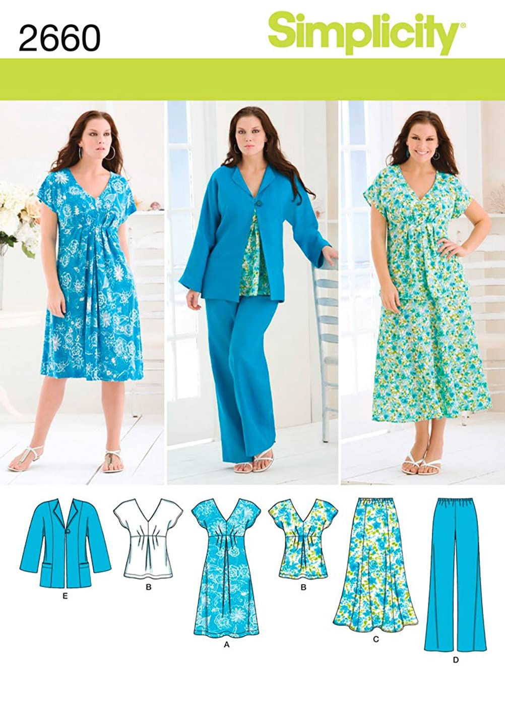 Simplicity Pattern 2660 Misses Skirt, Pants, Dress or Top and Jacket Sizes 10-12-14-16-18