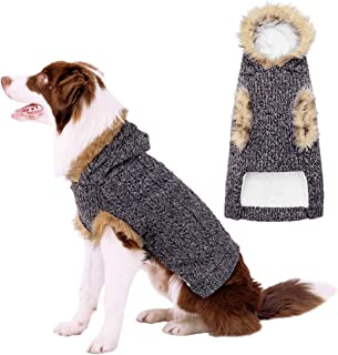 BINGPET Dog Hooded Sweater Winter Fleece Knitwear Dog Classic Cable Knit Sweater for Small to Large Dogs