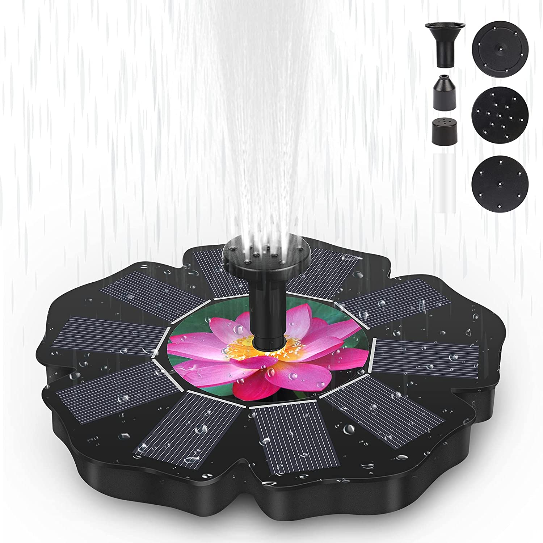 OVAREO Bomba Fuente Solar, 1.4W Fuente Jardín Exterior Fuente Solar con Batería y 5 Boquillas, Bomba de Agua Panel Solar Flotante para Estanque Pequeño, Pajaros, Piscina, Acuario