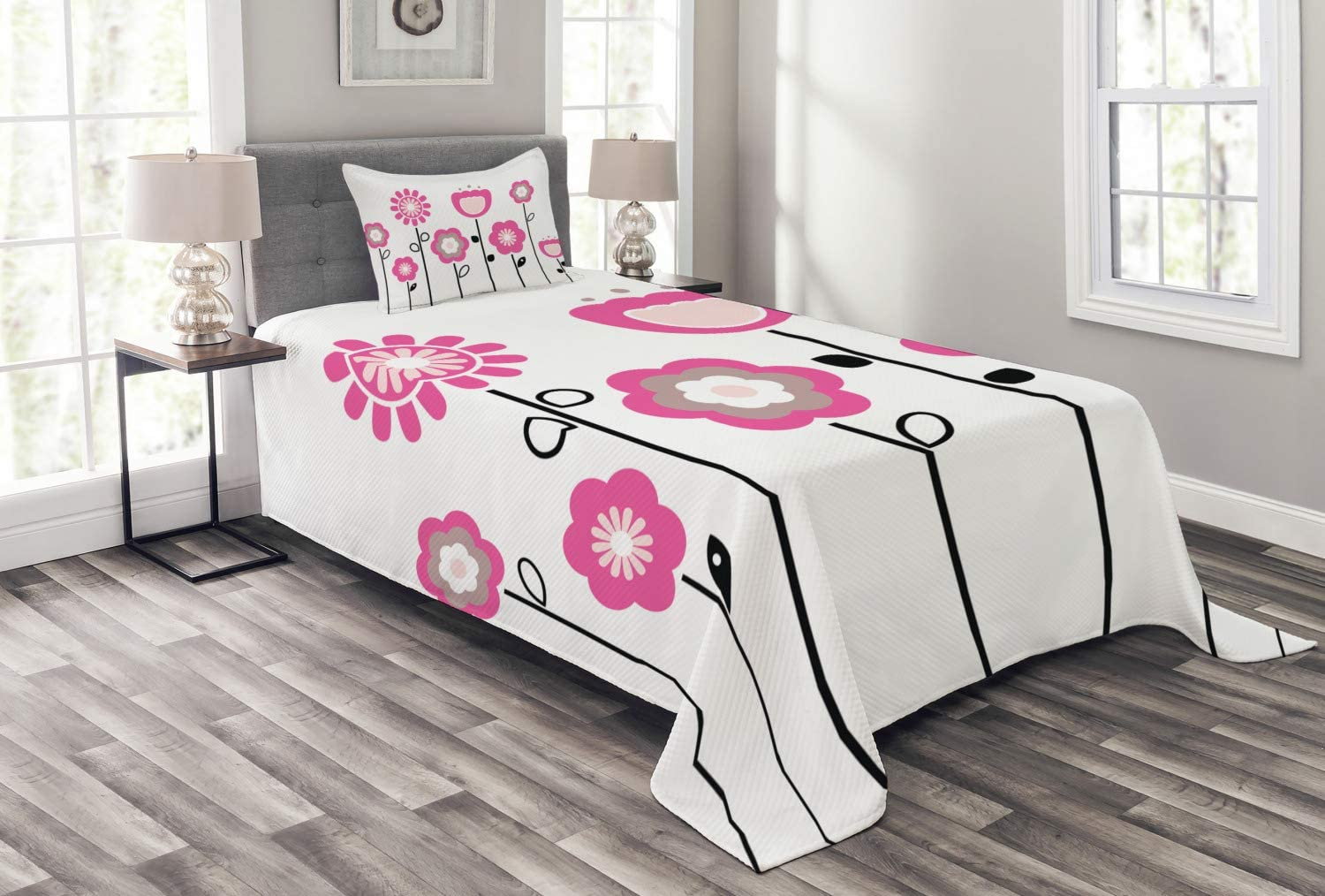 Ambesonne Pink and White Bedspread Topics on TV Abstract Flowers Rural Fi Industry No. 1 on