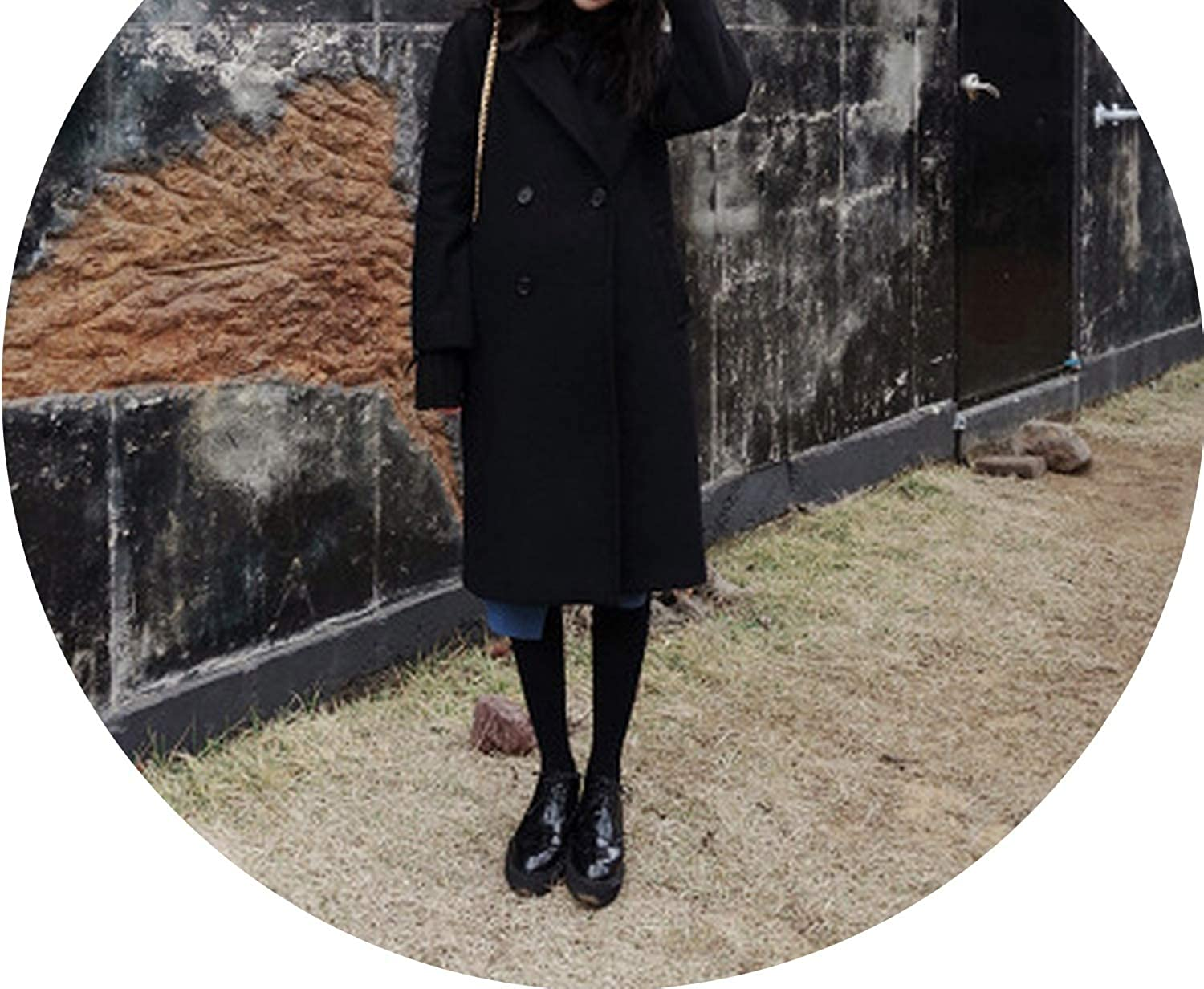 Casual Fashion Long Woolen Winter Coats Warm WideWaisted Wool Coat and Jacket Solid Single Breasted Ladies Coats
