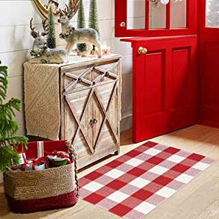 Tiffasea Christmas Cotton Buffalo Plaid Check Throw Rug, 2x3ft Small Area Rugs Hallway Rug Xmas Decor Kitchen Runner Boho Outdoor Indoors Mats Entryway Carpets for Bedroom Living Room (Red and White)