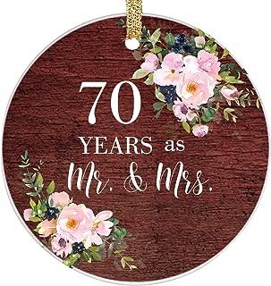 PrJoyint 70th Wedding Anniversary Christmas Wedding Ornament Year for Parents - 70 Years as Mr. & Mrs.