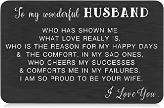 Husband Valentine Day Gift Ideas from Wife Wallet Insert Card for Hubby Christmas Wedding Day Anniversary Birthday Fiance ...