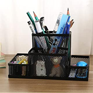 HYLong Black Metal Mesh Desktop Organizer Office Pen Pencil Box Stationery Holder Case