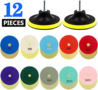 Tanzfrosch 4 inch Diamond Polishing Pads Set Wet/Dry Polishing Kit 10pcs 50#-3000# Grit Pads with 2pcs Hook and Loop Backer Pads for Granite Stone Concrete Marble Floor Grinder or Polisher (12 Pack)