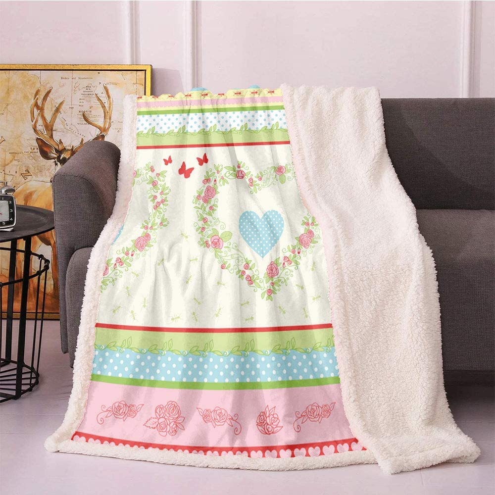 famous SeptSonne Shabby Flora Plush Blanket Roses Excellence Style and Country Bor