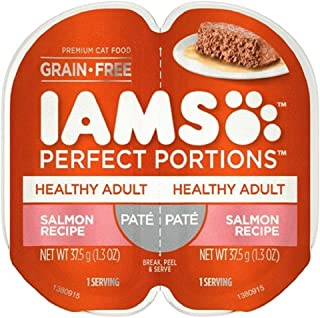 IAMS Perfect Portions Premium Adult Cat Food Salmon Recipe Grain Free Pate, 1.3 oz Each 4 - Twin Packs (8 Total Servings)