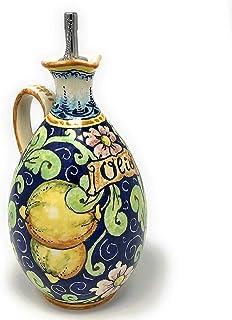 CERAMICHE D'ARTE PARRINI- Ceramica italiana artistica, ampolla olio decorazione limoni, dipinto a mano, made in ITALY Toscana