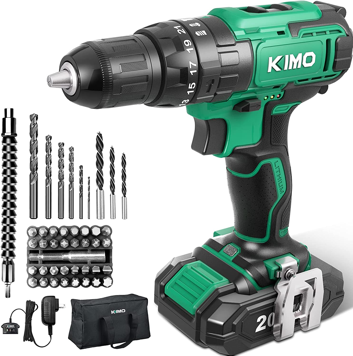 Drill Set - KIMO 20V MAX Battery 3 Cordless and Year-end Boston Mall gift Charger w