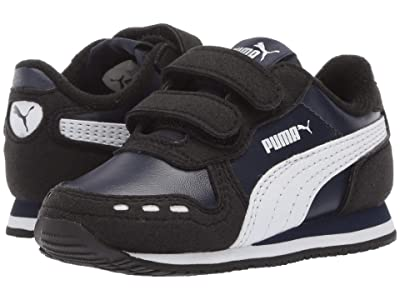 Puma Kids Cabana Racer SL Velcro (Toddler) (Peacoat/Puma Black/Puma White) Boys Shoes