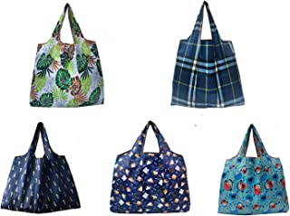 Foldable Reusable Grocery Bags 5 Pack Shopping Bags Large 50LBS Waterproof Machine Washable Ripstop Nylon Cloth Reusable Bags Cute Groceries Bags Fits in Pocket wallet (Pattern 02)