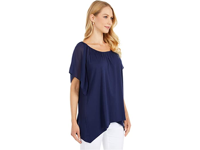 Michael Kors Ruffled Hank Hem Top True Navy Shirts & Tops