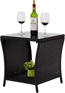 Kinbor Black Outdoor Square Wicker Rattan Side Coffee Table w/Glass Top Patio Furniture with Storage Shelf