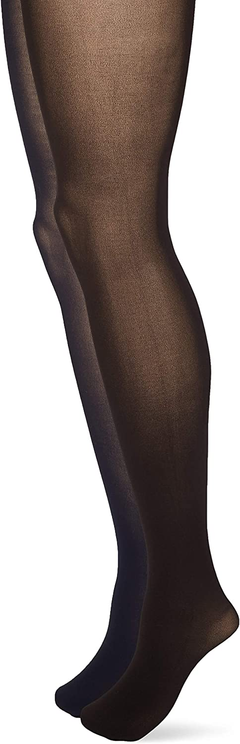 HUE womens Opaque Tights With Control Top 2 Pack