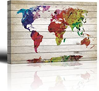 wall26 - Watercolor World Map Rustic Painting - Canvas Art Wall Decor - 24