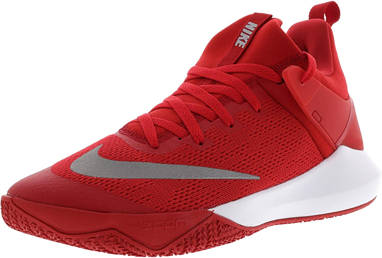 NIKE Men's Zoom Shift Tb University rot Weiß Ankle-High Mesh Basketball schuhe - 10.5M