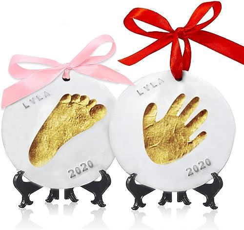Kit souvenir Ornement avec empreinte de main pour bébé - Ornements personnalisés pour nouveau-né - Chevalet pour kit ...
