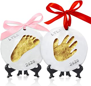 Best Baby Handprint Footprint Ornament Keepsake Kit - Personalized Baby Prints Ornaments for Newborn - Baby Nursery Memory Art Kit - Baby Shower Gifts, Christmas Gifts (Gold Paint) Reviews