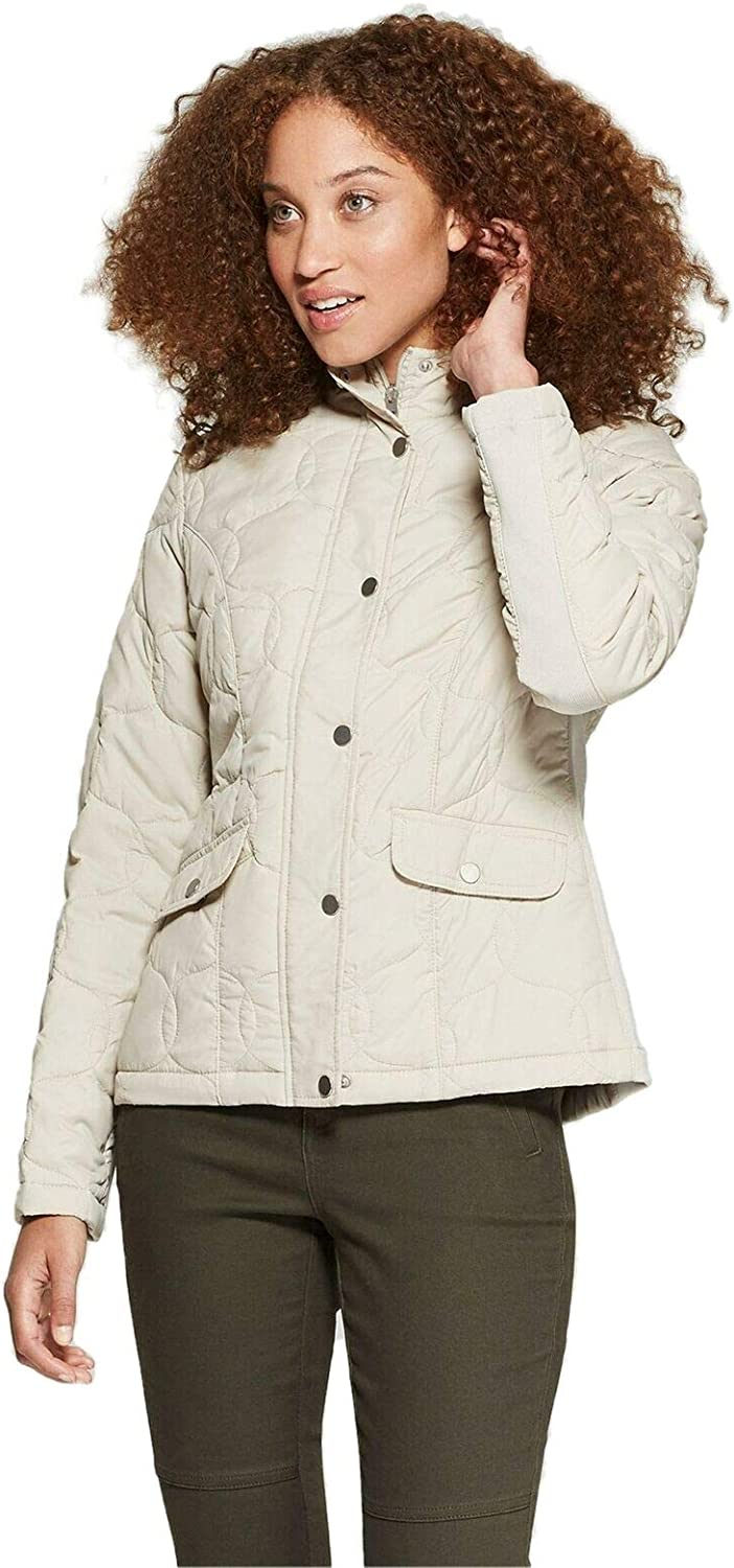 A New Day Women's Ribbed Side Insets Quilted Jacket