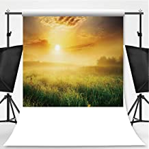 Colorful and Foggy Sunrise Over Grassy Meadow Landscape Theme Backdrop Photography Background Backdrops,062077,6x10ft