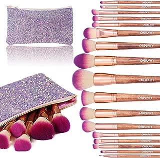 Makeup Brush Set, Diolan 17PCs Professional Makeup Brushes for Foundation Blending Blush Concealer Eye Shadow, Synthetic Fiber Bristles & Wooden Handle, Travel Makeup Bag Included, Glitter Purple
