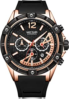 Megir Men's Sports Chronograph Quartz Watches Leather Silicone Waterproof Luminous Army Wristwatch Man